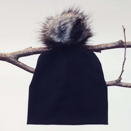 beanie til børn med aftagelig pels kvast